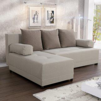 Rohová sedačka MAX 3 univerzální roh, světle béžová látka/světle hnědá látka
