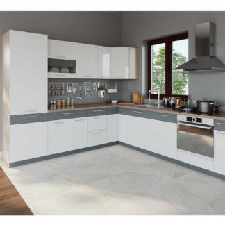 Rohová kuchyně MODENA 275x300, bílý lesk/grafit mat