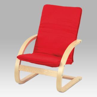 Dětské relaxační křeslo QR-06 RED, látka červená / přírodní