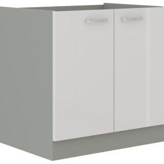 BIANKA, skříňka pod dřez 80 ZL 2F BB, šedá / bílý lesk