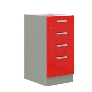 ROSE, skříňka dolní 40 D 4S BB, šedá / červený lesk