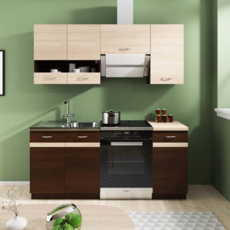 Kuchyně LARISA 120/180 cm, korpus dub sonoma tmavý, dvířka dub sonoma tmavý + světlý