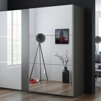 Šatní skříň TUNIS 250, grafit/bílá lesk