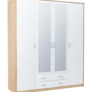 Šatní skříň VIKA 4D2S, dub sonoma/bílá