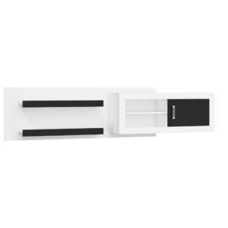 VERIN/07, závěsná skříňka, bílá/černý lesk