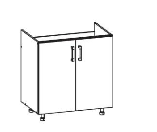 FIORE dolní skříňka DK80 pod dřez, korpus wenge, dvířka bílá supermat