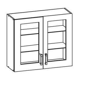 FIORE horní skříňka G80/72 vitrína, korpus wenge, dvířka bílá supermat