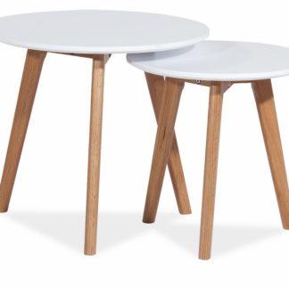 Konferenční stolky- sestava MILAN S2, bílá/dub