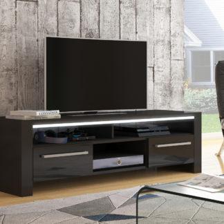 ROCKY televizní stolek, černá/černý lesk
