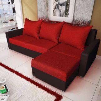 Rohová sedačka MALAGA BIS 1, červená látka/černá ekokůže