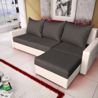 Rohová sedačka MALAGA BIS 6, grafitová látka/bílá ekokůže