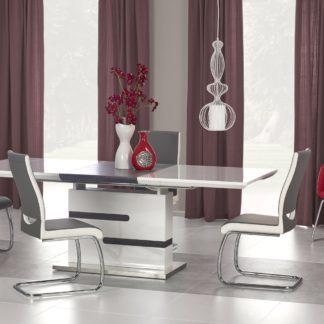 Jídelní stůl rozkládací MONACO 160/220x90 cm, bílá/šedá