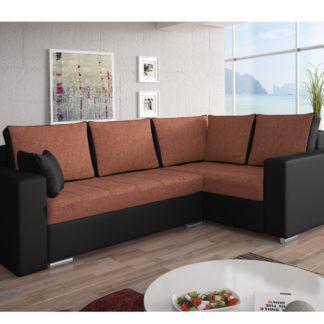 Rohová sedačka VALERIO BIS 5 pravá, oranžová látka/černá ekokůže
