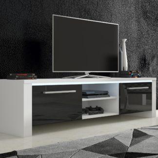 TV stolek HELIX 2, bílá/černý lesk