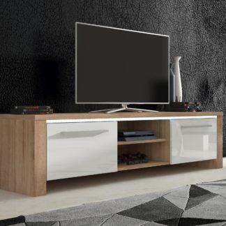 TV stolek HELIX 2, dub sonoma/bílý lesk