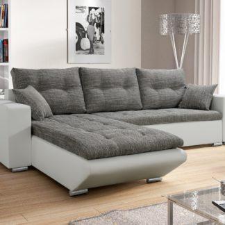 Rohová sedačka DARLA 1, šedá látka/bílá ekokůže