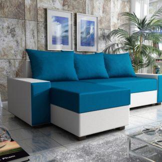 Rohová sedačka FIESTA 2, modrá látka/bílá ekokůže