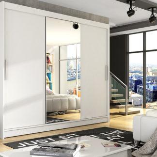 Šatní skříň ASTON I, bílý mat/zrcadlo