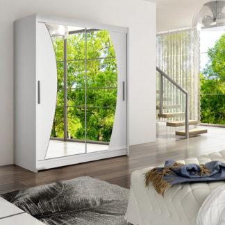 Šatní skříň WESTA X, bílý mat/zrcadlo