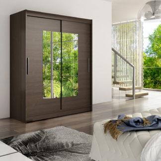 Šatní skříň WESTA III, choco/zrcadlo