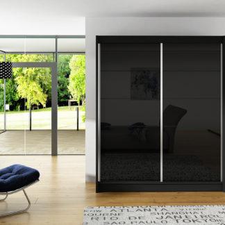 Šatní skříň VITO I, černý mat/černé sklo