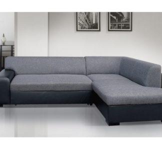 Rohová sedačka MINOS 3 pravá, šedá látka/černá ekokůže