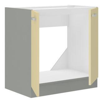 KARMEN, skříňka pod dřez 80 ZL 2F BB, šedá / krémový lesk