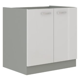 BIANKA, skříňka dolní 80 D 2F BB, šedá / bílý lesk