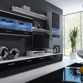 LOGGO II, obývací stěna, korpus bílý/ dvířka černý lesk