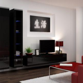 Obývací stěna VIGO 3, černá/černý lesk