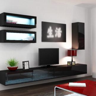 Obývací stěna VIGO 11, černá/černý lesk