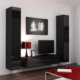 Obývací stěna VIGO 9, černá/černý lesk