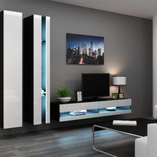 Obývací stěna VIGO NEW 5, černá/bílý lesk