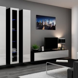 Obývací stěna VIGO 2 B, černá/bílý lesk