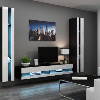 Obývací stěna VIGO NEW 3, černá/bílý lesk