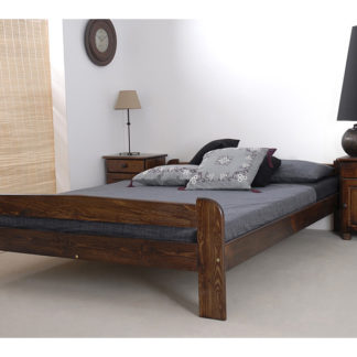 Postel ANIA 140x200 cm s roštem, masiv borovice/moření ořech
