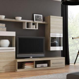 Obývací stěna TORII, bílý lesk/dub sonoma