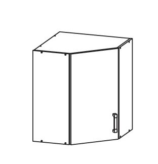 FIORE horní rohová skříňka GNWU 60/72, korpus wenge, dvířka bílá supermat
