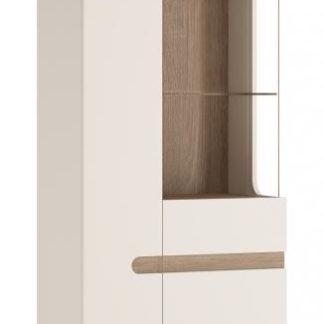 LINATE/01P, vitrína 2D, alpská bílá/trufla, pravá