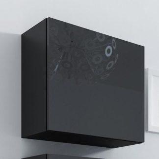Vitrína čtvercová VIGO, černá/černý lesk