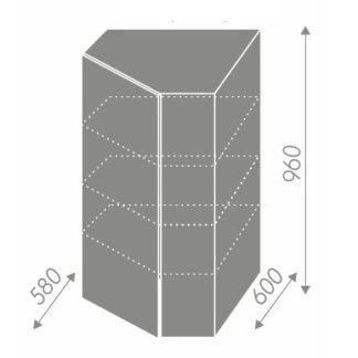 PLATINUM, skříňka horní rohová W4/10 60, korpus: bílý, barva: white
