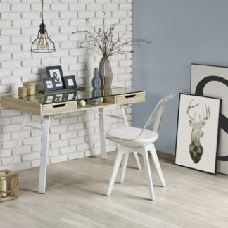 Moderní psací stůl B-33,  dub sonoma/bílá