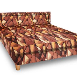 Čalouněná postel IVA 140x200 cm, hnědožlutá látka