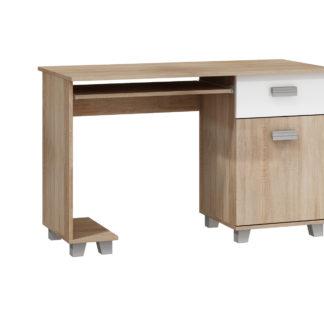 PC stůl se zásuvkou a skříňkou SOLO, SOL-01, dub sonoma/bílý lesk