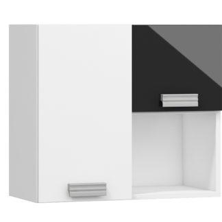 SOLO,závěsná skříňka SOL-08L, bílá/černý lesk
