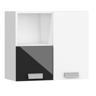 SOLO,závěsná skříňka SOL-08P, bílá/černý lesk