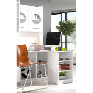 Regál s psacím stolem rohový RAJ 1, bílá