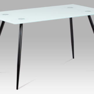 Jídelní stůl, mléčné sklo + nohy černý lak  GDT-113 WT