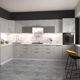 Rohová kuchyně VENTO 260x380 cm, dvířka: šedý lesk