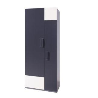 Šatní skříň LIDO SZ2D, šedá/grafit+bílá